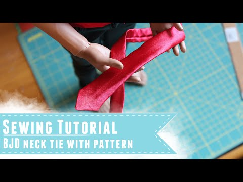 Sewing tutorial: How to make a neck tie for BJDs, with pattern tutorial