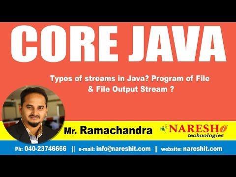 Java Tutorial | Types of streams in Java? Program of File & File Output Stream ?  | By Mr.Ramchander