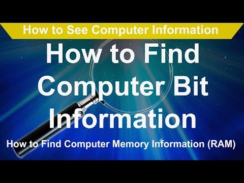 How to See Computer Information   How to Find Computer Bit Information RAM Information