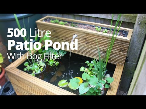 Patio pond hand made 500 litres with bog filter and goldfish