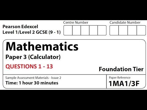 Revise Edexcel Maths Foundation Paper 3 - Questions 1 - 13
