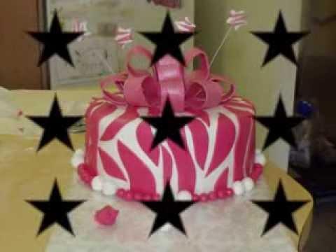 fondant pink zebra print cake