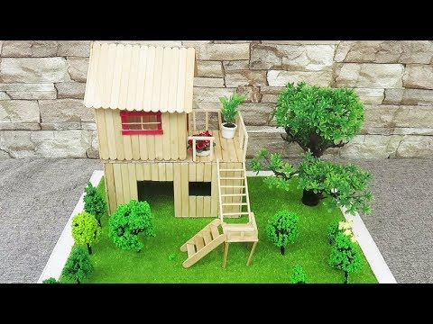 Building Popsicle Stick House  -  Miniature Fairy Garden -  Easy Crafts Ideas