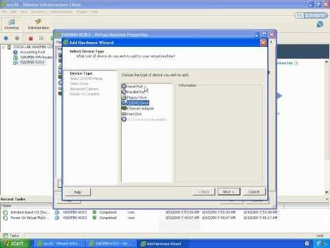 VMWare Training: Adding A CD Rom Drive To VMWare Virtual Machine VIADMIN