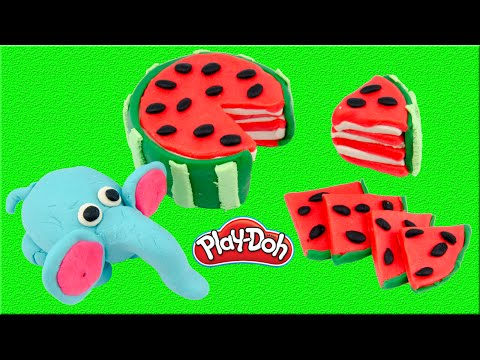 Creative Fun for Kids! DIY Elephant Eating Watermelon with Play Doh