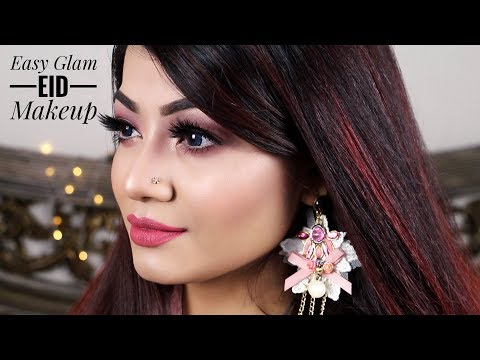 EASY GLAM EID MAKEUP TUTORIAL | Soft Pink Eyes and Glowy Face Eid Daytime Makeup Look 2018