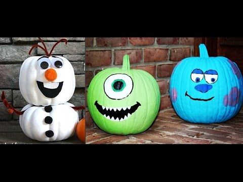 Disney No Carve Halloween Pumpkins 30 Decorating Ideas Frozen Monsters Inc Cinderella Mickey Mouse