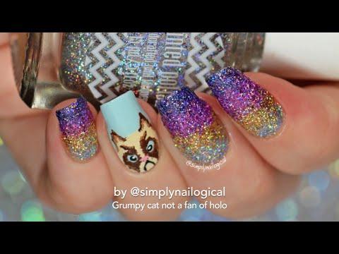 Grumpy cat and holo glitter gradient nail art
