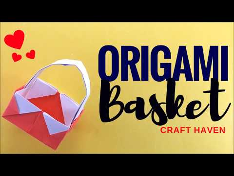 How to Make Easy Origami Basket w/ Handle - Paper Basket for Beginners - DIY Paper Crafting