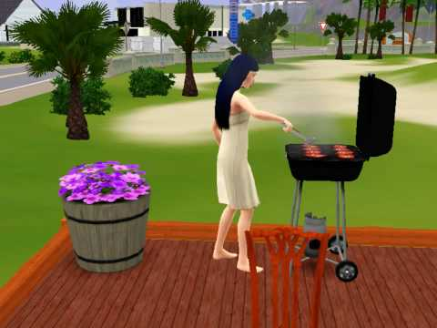 The Sims 3 Dropping Food On Barbeque