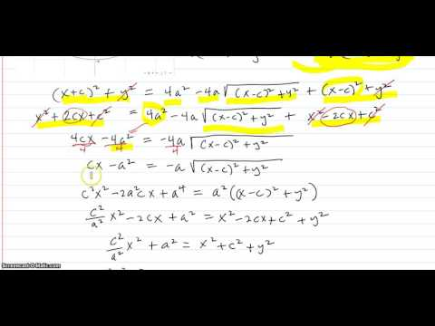 Deriving the equation of an ellipse from the geometric definition of the ellipse