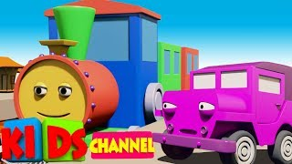 learn colors with train | learning colors with 3D vehicles | 3D video | learn colors by Kids Channel