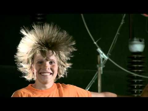 static electricity hair raising Van de Graaff (HD)