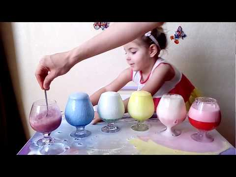 Vinegar, baking soda, dishwashing liquid  Experiment for children  Our fail and colorful fountains