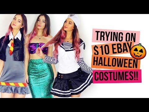 TRYING ON EBAY HALLOWEEN COSTUMES UNDER $10 | Beautybyasha