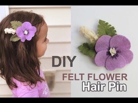 How to Make Felt Flower Leaf Hair Pin - Easy Tutorial DIY