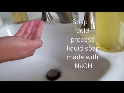 Comparing liquid soaps made with different types of lye and methods