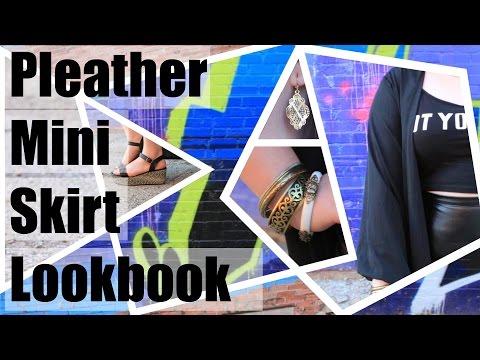 Pleather Mini Skirt Lookbook