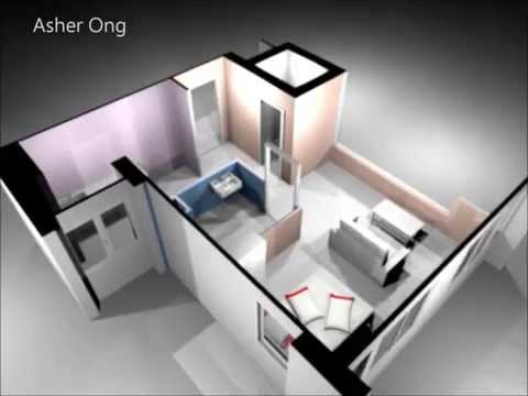 1 Room HDB Flat, Corner, 1 Studio Apartment, 1SA Model, 3D Render, Floor Plan, Typical Layout