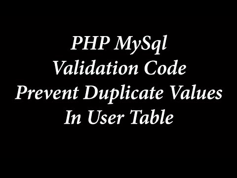 PHP MySql Prevent duplicate users in user table