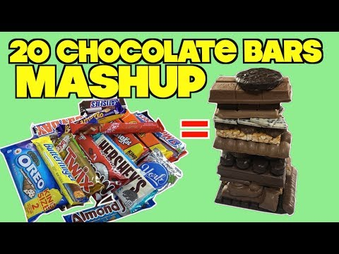Mashup Of 20 Chocolate Bars - 20 different Chocolate Bars Mixed Into A Giant Ball (FOOD LIFE HACKS)