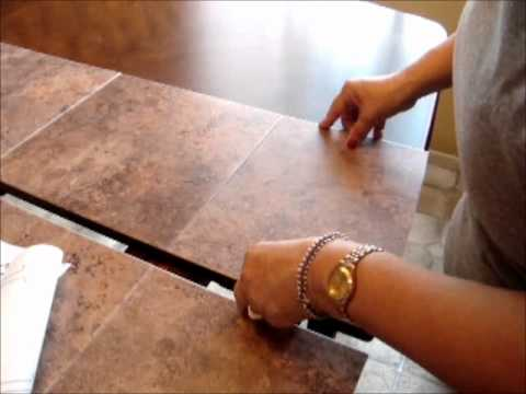How to fix damaged table top by using stick-on tiles.wmv