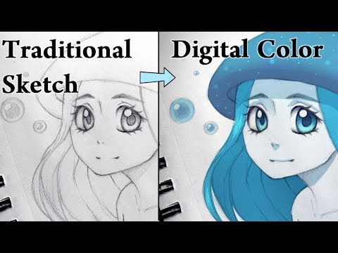 How to Color a Sketch on Paper Digitally!