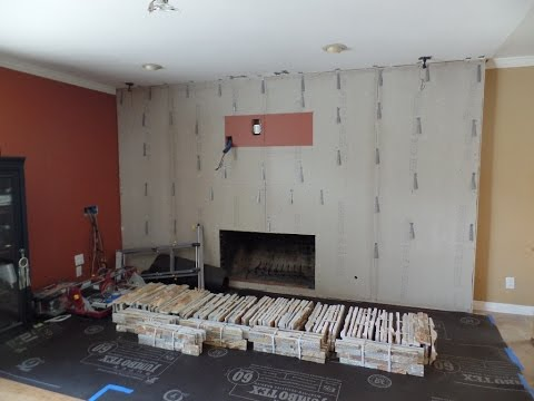 Installing Stone Veneer Panels On Wall with T.V.