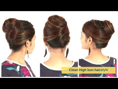 Elegant&Clean High Bun Hairstyle For Medium/Long Hair   Quick&Easy Hair Updo   Komal's Hairstyle