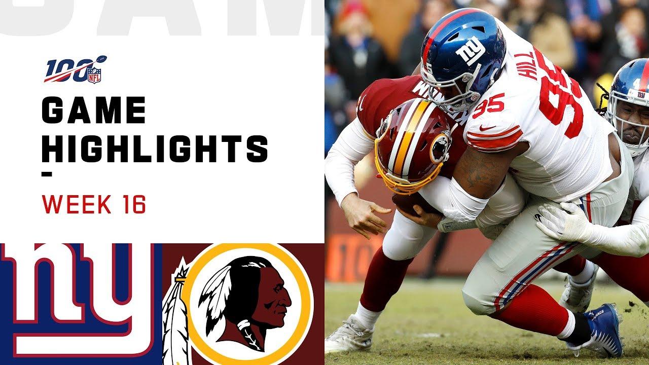Giants vs. Redskins Week 16 Highlights   NFL 2019