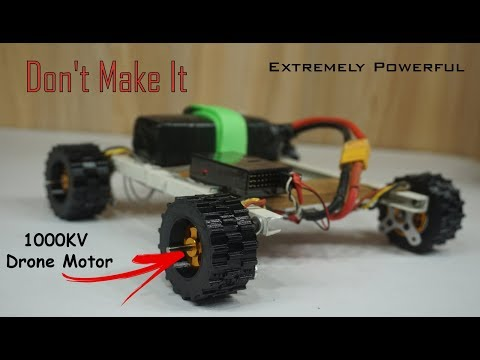 Extremely Powerful RC Car with 1000KV  Drone motor | How NOT to make a Diy RC CAR🤣