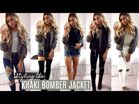 HOW I STYLE THE KHAKI BOMBER JACKET / LOOKBOOK / OUTFIT IDEAS