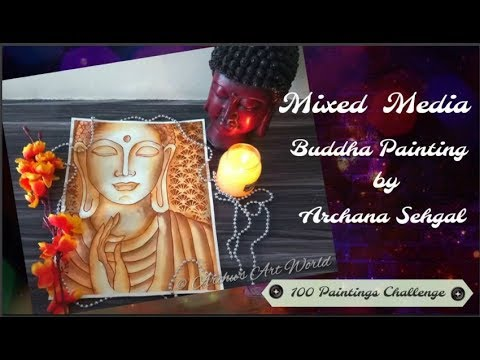 # 64/100 Mixed Media Buddha Painting    100 PAINTINGS CHALLENGE