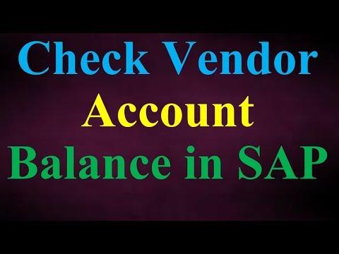 Check Vendor Account Balance in SAP