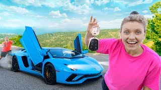 Scaring Stephen Sharer Driving Lamborghini Surprise for The First Time!! (Sis vs Bro Challenge)