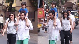 Taimur Ali Khan On Morning Walk With Mom Kareena Kapoor & Dad Saif Ali Khan