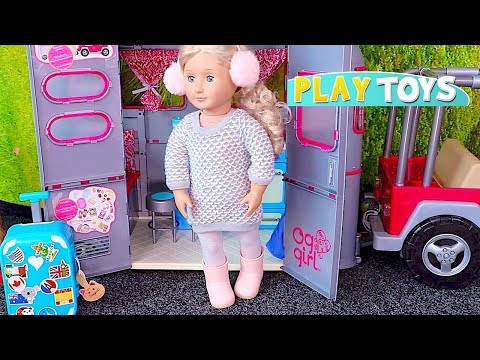 Baby Doll Travel Routine! 🎀 Playing American Girl Dolls Travel Suitcase and Dress up!