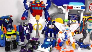 TRANSFORMERS RESCUE BOTS BOULDER THE CONSTRUCTION BOT, CHASE POLICE STATION, BLURR, HIGH TIDE, DINO