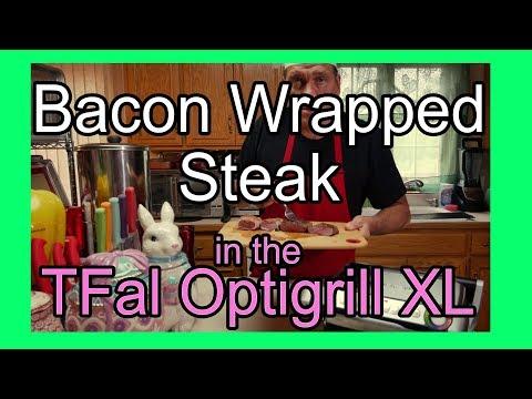 Bacon Wrapped Steak in the TFal Optigrill - Sirloin Steak