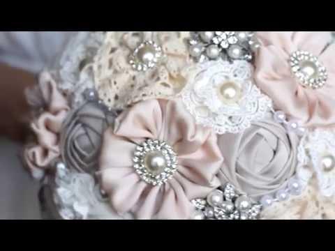 Rustic bouquet, wedding brooch bouquet.Fabric bouquet