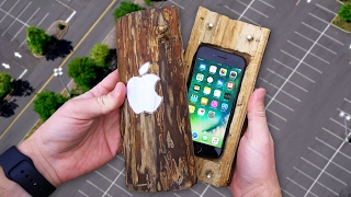 Can a Hand-Carved Log Protect iPhone 7 from 100 FT Drop Test? - GizmoSlip