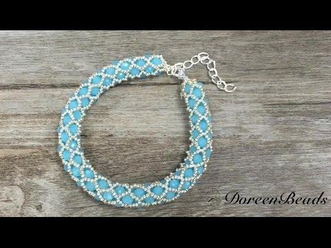 Doreenbeads Jewelry Making Tutorial - How to Make Chic Netted Rope Bead Bracelet