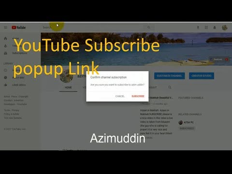How To Make a YouTube Subscribe popup Link social media