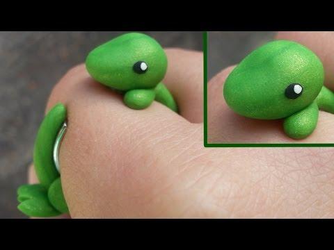 Dinosaur T-Rex Wrap Around Ring Polymer Clay Tutorial / Arcilla Polimérica