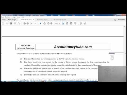 ACCA P6 UK   Companies Buy back shares   AccountancyTube.com