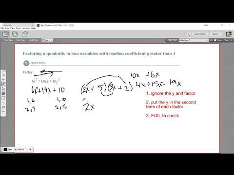 Factoring a quadratic in two variables with a leading coefficient greater than 1