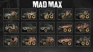 Mad Max - All Collectible Cars Gameplay (All in-game Vehicles) SHOWCASE