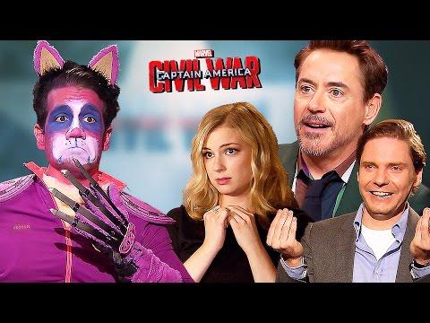 Captain America: CIVIL WAR vs Purple Grumpy Cat | Fun with Robert Downey Jr. and more