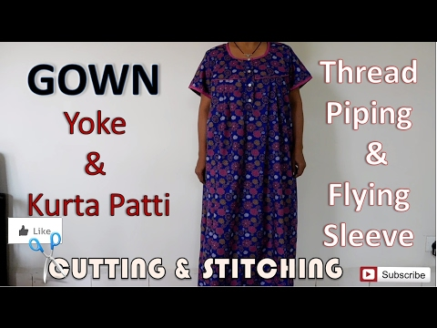 Gown / Nighty   Thread Piping   Flying Sleeve   How To Sewing Tutorial   Diy