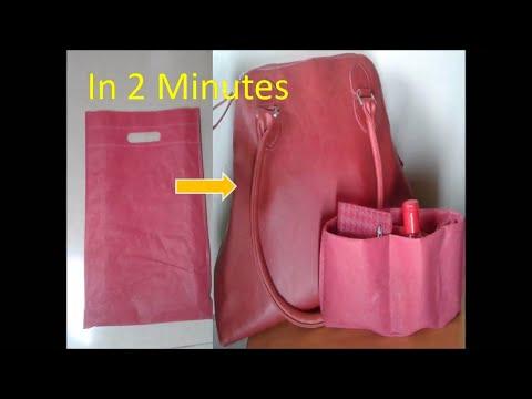 DIY handbag purse organizer using carry bag no sew in 2 minutes/How to organize purse